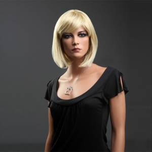 Парик каре блонд с челкой